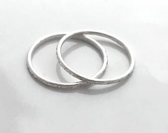 Thin sterling silver stacked ring set (two rings)