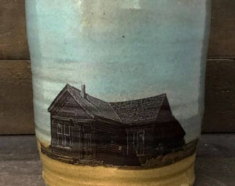 Prairie Homestead Ceramic Cup - HAND MADE Turquioise and Matt Yellow  Stoneware