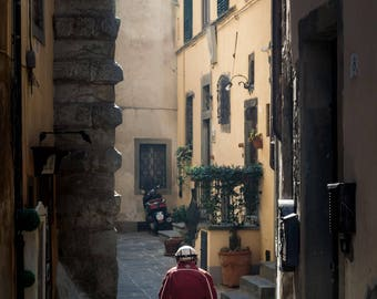 Vespa Picnic Fine Art Photography Italy Cortona Tuscany Street Photography Travel Italian romantic cobbled streets scooter urban dream art