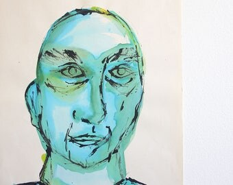1960's Modernist Portrait of a Man / 18 x 12 / Signed and Dated / Mid Century Art / Blue and green