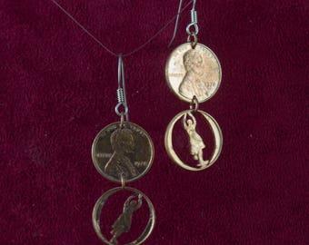 CLEARANCE- Bharatanatyam Dancers Cut Pennies Earrings Pose 2