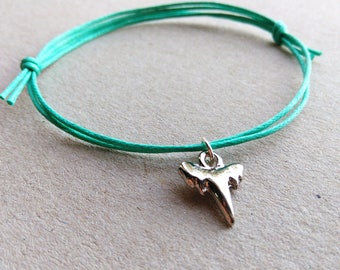 SALE -Silver Shark Tooth bracelet, Shark Tooth anklet or Shark Tooth  necklace -waxed cotton cord -8 colors -Best Friends Bracelet