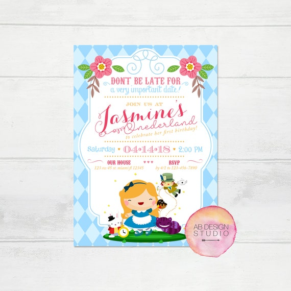 Alice in Wonderland Invitation ONEderland Birthday Invite Tea