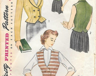 Simplicity 3683 1950s Fitted Weskit and Jacket Vintage Sewing Pattern Size 14 Bust 32 Vest