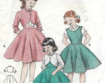 Butterick 6865 1950s Girls Bolero Blouse Circle Skirt and Jumper Vintage Sewing Pattern Size 8 Breast 26
