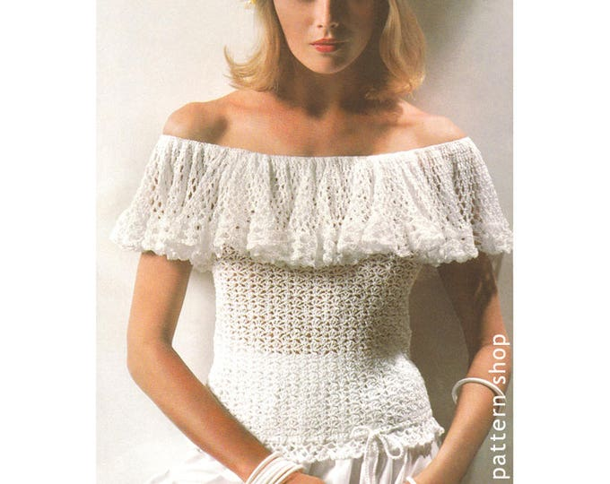 Off Shoulder Top Crochet Pattern Ruffle Bardot Top PDF Instant Download