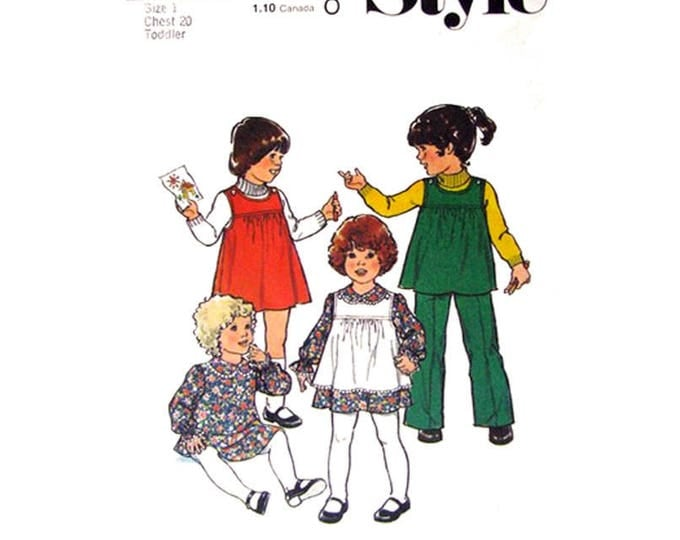 Girls Sewing Pattern Dress Pinafore or Tunic and Pants Style 2007 Trousers Toddler Size 1