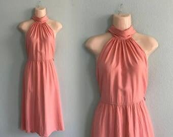 Pretty 90s High Neck Halter Dress in Flamingo Pink - Vintage Pink Sundress with Wide Belt - Vintage 1990s Dress XS S