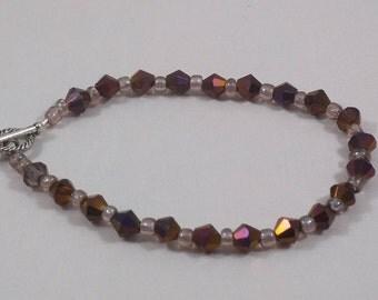 Burgundy Bi-Cone Glass Beaded Bracelet with Toggle Clasp