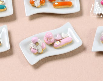 Classic French Pastries/Desserts on Plate - St Honoré, Religieuse, Eclair - Pink Selection - Miniature Food for Dollhouse 12th scale