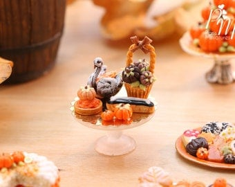 MTO-Autumn-Themed French Pastry Presentation - 12th Scale Miniature Food
