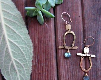 Passageways Earrings with Stones - Asymmetric Minimalist Brass Earrings - People Earrings - Boho Artisan Jewelry - Lightweight Earrings