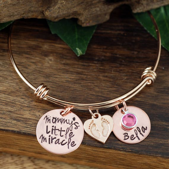 Personalized New Mom Bracelet, Mommy's Little Miracle Copper Bracelet, Custom Bangle Bracelet, Signature Jewelry, Engraved Bracelet