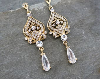 20% OFF 1920s Gold Earrings, Bridal Gold Pearl Earrings, Gold Chandelier Earrings, Gold Vintage Inspired, Hollywood Earrings  - 'ALISA'