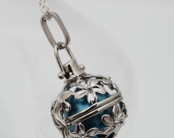 Angel caller cherry blossom locket with choice of coloured chime ball- harmony bell- pregnancy necklace- Mexican Bola necklace- Silver plate