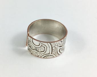 Size 7 Ring, Silver Ring, Wrap Ring, Adjustable Ring, Wife Gift, Mother Ring, Art Nouveau Ring, Spoon Ring, Wide Band Ring, Copper Ring