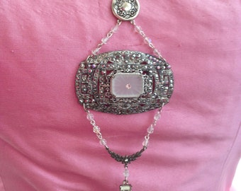 Vintage 1920's Marcasite and Crystal roaring 20's Necklace and Earrings SET
