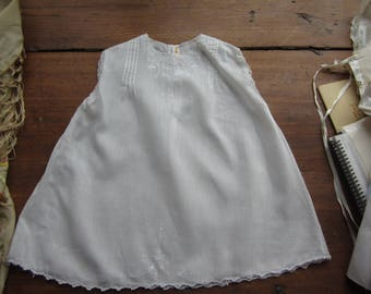 Vintage White, Linen Baby/Doll Dress. White Embroidery, Scalloped Sleeves & Hem. Handmade tag. No 32