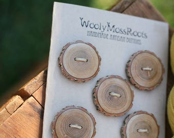 5 Sassafras Wood Buttons- Reclaimed Wood Buttons- Knitting, Sewing, Craft Buttons- DIY Craft Supply