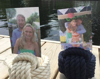 Engagement Photo Holders - Navy Blue Holders - Cream Available - 10 Holders - Engagement Pic Holders - Engagement Ideas - Sailing Theme