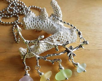 Coral Branch and Sea Glass Necklace