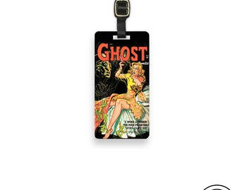 Luggage Tag Vintage Horror Comic Ghost Comic Luggage Tag - Single Tag Strap Included, Printed Personalization on Back