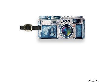 Luggage Tag Blue Watercolor Camera art Photographer Tag Metal Luggage Tag With Custom Info On Back, Single Tag