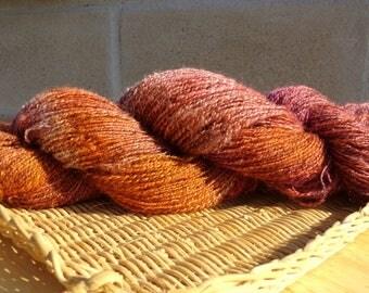 Hand Spun Wool Lace Weight Yarn 400 yards Sunset Stripe