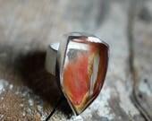 Pumpkin Inclusion Quartz Crystal Ring