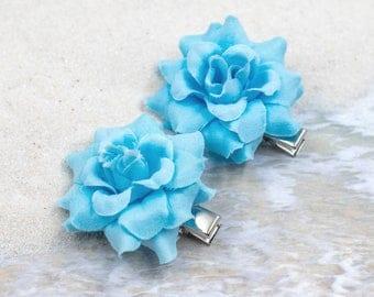 Pair Rose Hair Clips, 2 inch, Fabric   Flower Hair Clip,   Metal Clip, Blue