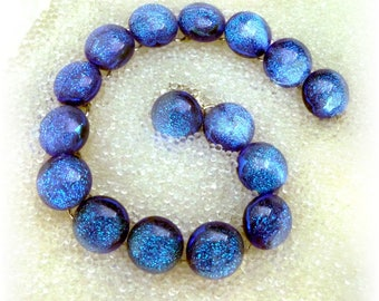 Bright Blue Link Bracelet in Sparkling Dichroic Glass // Fused Glass Bracelet