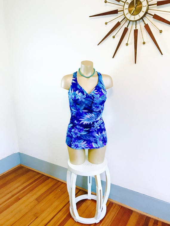 Vintage 60s Onepiece, Maxine of Hollywood, 60s Bathing Suit, 60 Swimsuit, Floral one piece, Skirted swimsuit, 1960s swimwear, Plus size 16