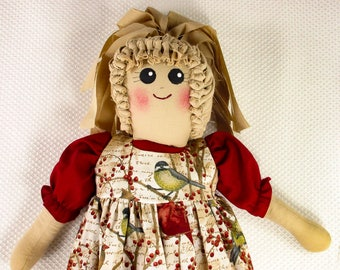Plastic Bag Holder Doll, Pip Berries and Birds, Cardinals, Recycle, Grocery Bag Holder, Country Kitchen, Primitive Accent, Kitchen Storage