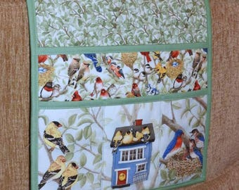 Quilted Armchair Caddy, Bedside Caddy, Birds, American Goldfinch, Eastern Bluebird, Birdhouse