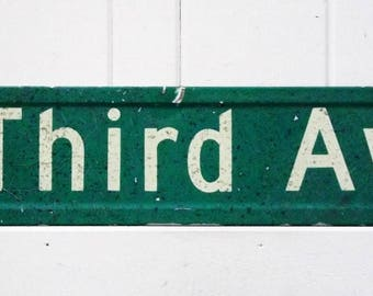 Vintage Metal Street Sign Green and White Third Av Sign Industrial Decor