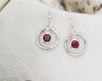 January Birthstone Earrings, Garnet Jewelry, January Birthday Gift, January Birthstone Jewelry, January Earrings, Sterling Silver Garnet