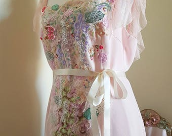 handmade wedding dress, pale pink to peach colour, appliques pearls, butterfly leaves, tendrils floral appliques