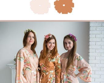 Blush and Copper Wedding Color Bridesmaids Robes - Premium Rayon Fabric - Wider Belt and Lapels - Wider Kimono sleeves
