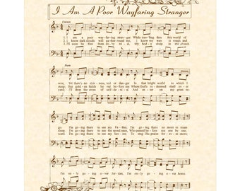I Am A POOR WAYFARING STRANGER - Hymn Wall Art - Custom Christian Home Decor Vintage Verses Sheet Music Inspirational Wall Art Sepia Brown