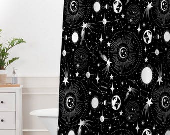 Outer Space Shower Curtain // Bathroom // Solar System Design // Black & White// Shower // Bathroom Decor // Stars // Constellations // Sky