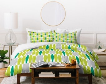 Geometric Duvet Cover // Midcentury Modern // Twin, Queen, King Sizes // Home Decor // Abacus Emerald Design // Bedding // Green // Bedroom