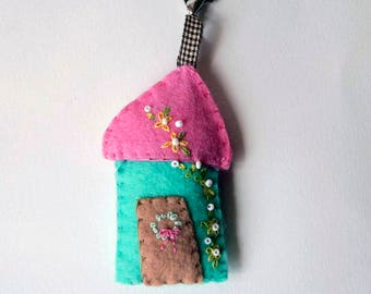 """Wool Felt House Key Chain in aqua, pink and tan with yellow and white Embroidered Floral and Beaded Embellishments, 3.5x2"""""""