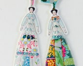 Two Tiny Flower Lady Doll Fabric Tags/Decorations Flat Embellished Textile Ornaments Whimsical Ornaments