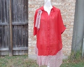 Altered women's button down blouse feminine, romantic top, Red Sheer blouse with red and gray Sheer botton, Size: 3X, Flower Embellishment