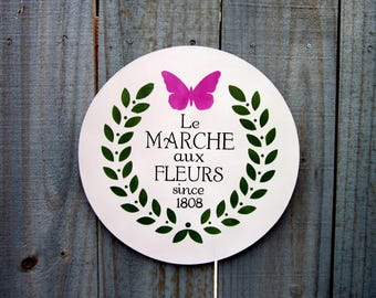Flower Sign, French Country Decor, Flower Market, Cottage Chic, Le Marche aux Fleurs, Painted Wood, Round Sign, French Wall Art