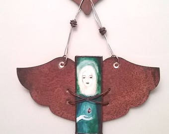Rustic Angel with Rusted Copper Star and Heart Topper in stained glass with Rusted Copper Wings -- ornament or keepsake