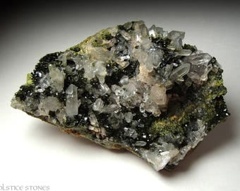 Epidote Dream Quartz // crystal healing. chakra stone. mineral specimen. large green cluster. rare. astral travel. raw. natural. meditation