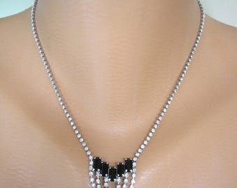 Christmas Gift, Black And White Rhinestone Necklace, Great Gatsby, Monochrome Jewelry, Vintage Choker,  Art Deco, Black and White Wedding