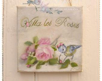 Tableau Peinture  Villa les Roses Bouquet oiseau mésange couronne de fleurs,  printemps Shabby chic Art Campagne © Hélène Flont Designs