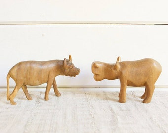 Vintage Hand Carved Wooden Water Buffalo and Hippo Figurines